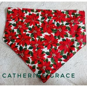 Dog bandana, christmas, holly, mistletoe, plaid